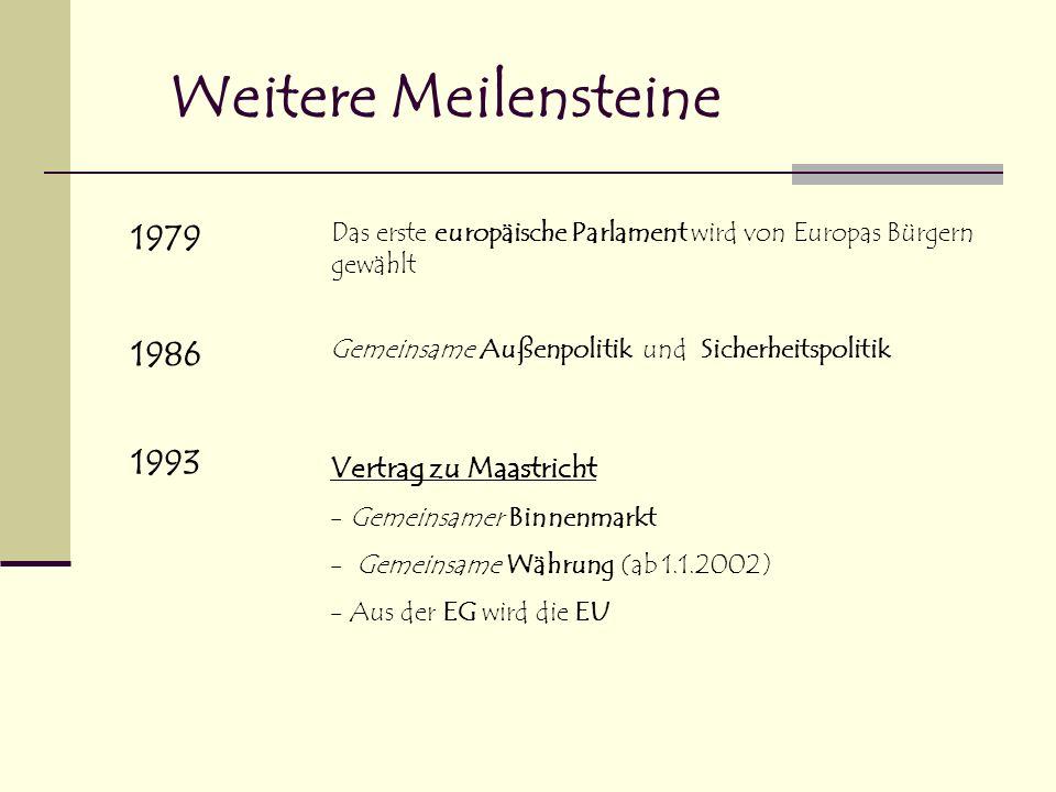 Weitere Meilensteine 1979 1986 1993 Vertrag zu Maastricht
