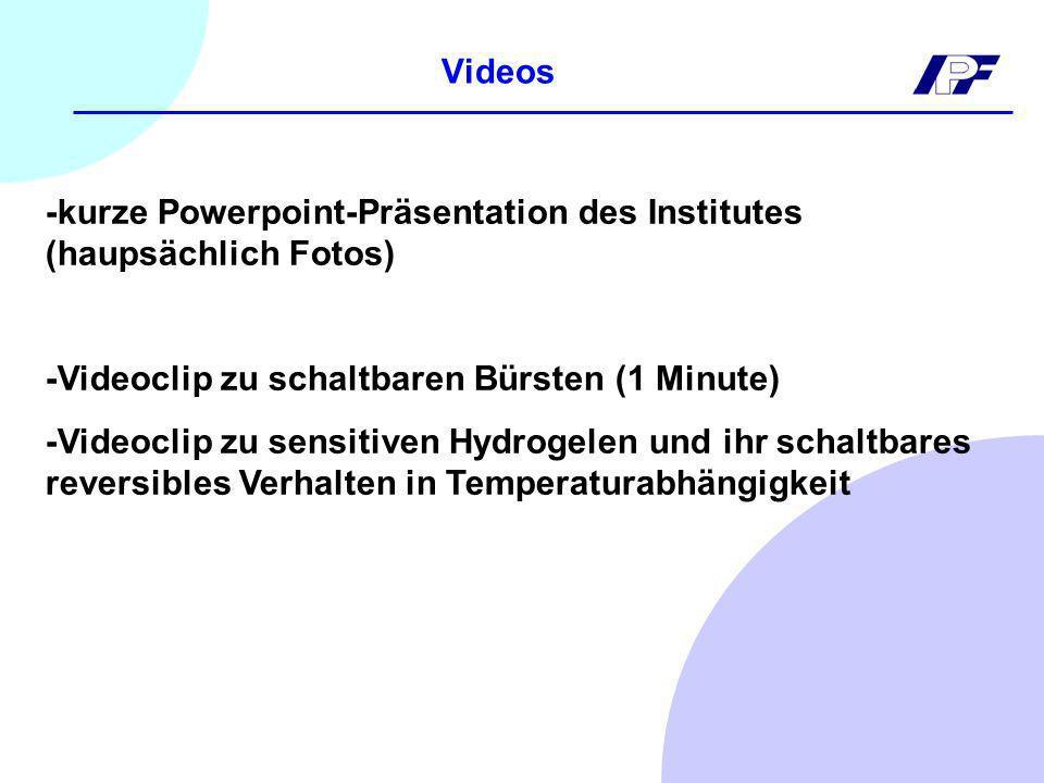 Videos -kurze Powerpoint-Präsentation des Institutes (haupsächlich Fotos) -Videoclip zu schaltbaren Bürsten (1 Minute)