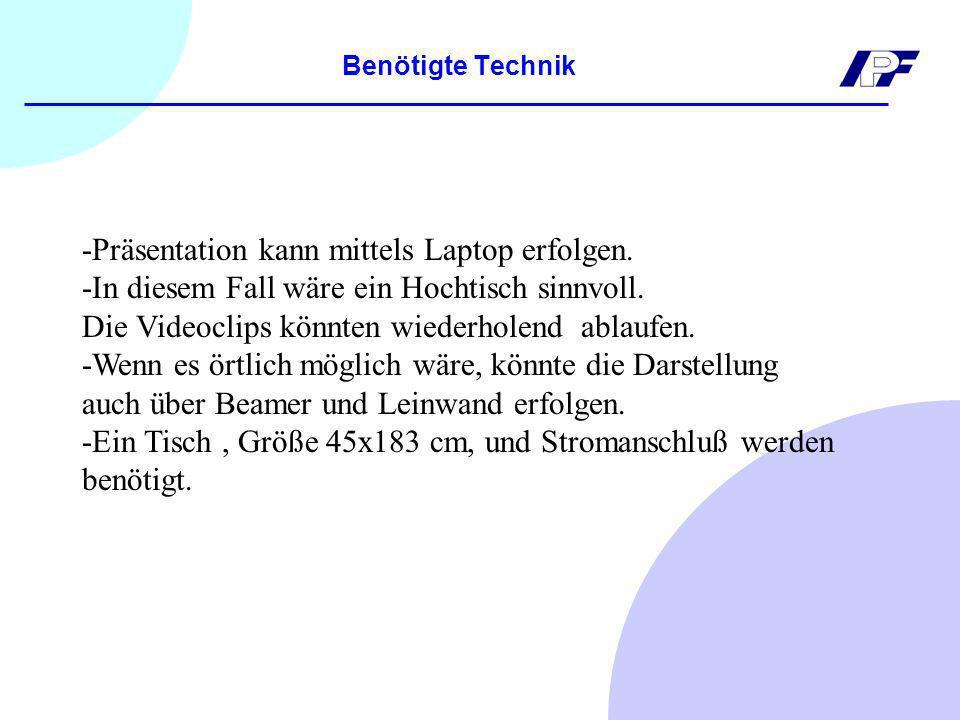 -Präsentation kann mittels Laptop erfolgen.