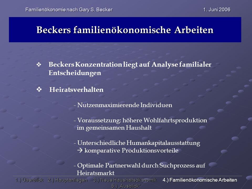 Familienökonomie nach Gary S. Becker 1. Juni 2006