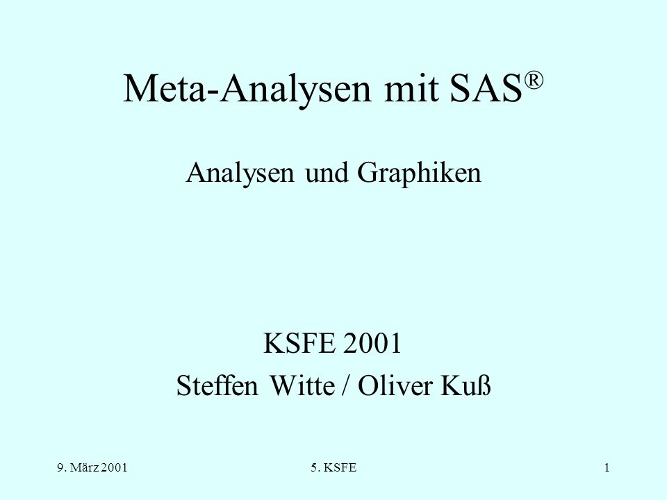 Meta-Analysen mit SAS®