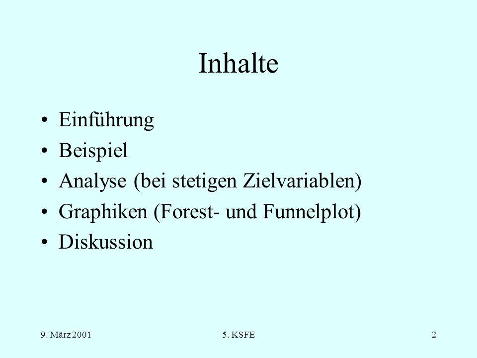 Inhalte Einführung Beispiel Analyse (bei stetigen Zielvariablen)