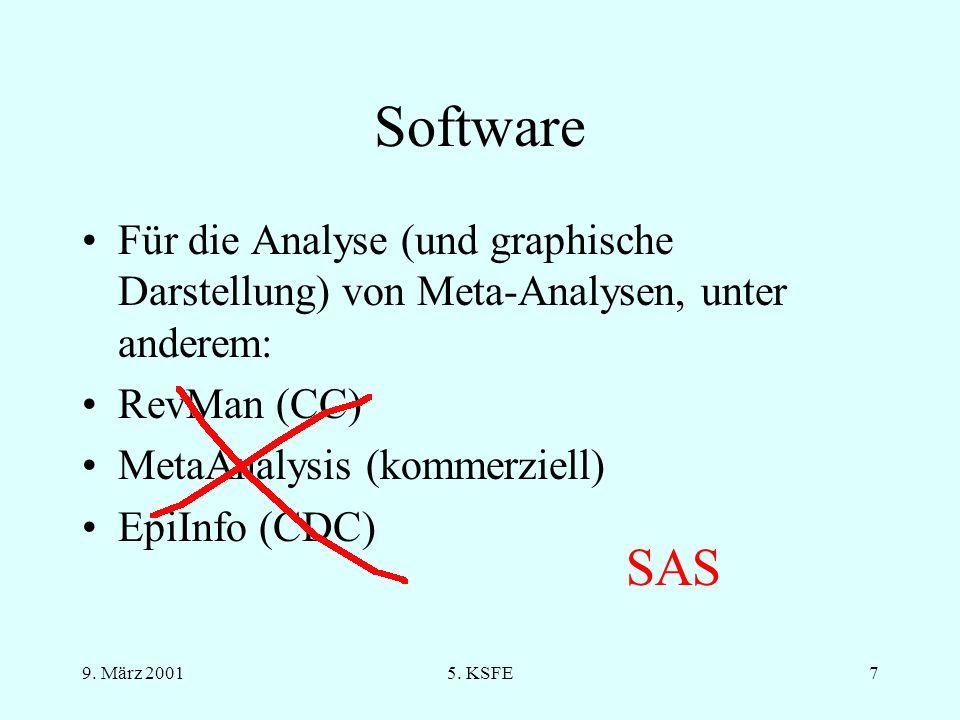 Software Für die Analyse (und graphische Darstellung) von Meta-Analysen, unter anderem: RevMan (CC)