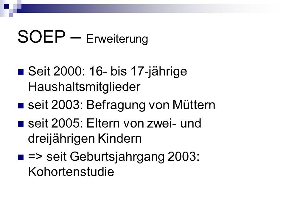 SOEP – Erweiterung Seit 2000: 16- bis 17-jährige Haushaltsmitglieder