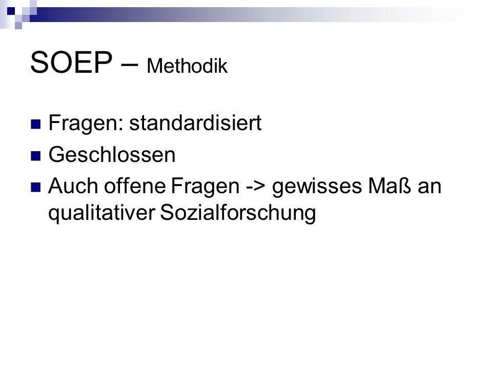 SOEP – Methodik Fragen: standardisiert Geschlossen