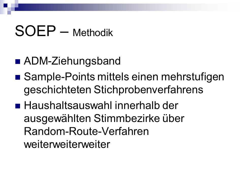 SOEP – Methodik ADM-Ziehungsband