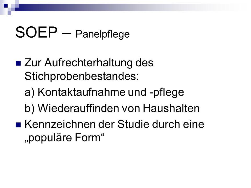 SOEP – Panelpflege Zur Aufrechterhaltung des Stichprobenbestandes: