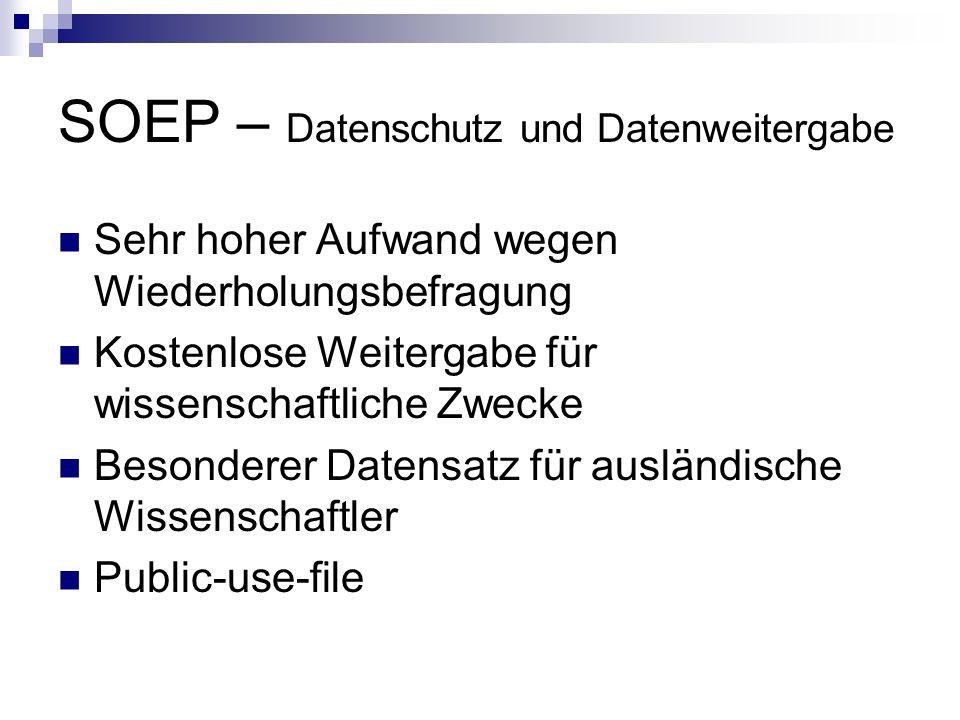 SOEP – Datenschutz und Datenweitergabe
