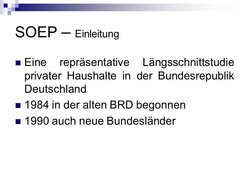 SOEP – Einleitung Eine repräsentative Längsschnittstudie privater Haushalte in der Bundesrepublik Deutschland.