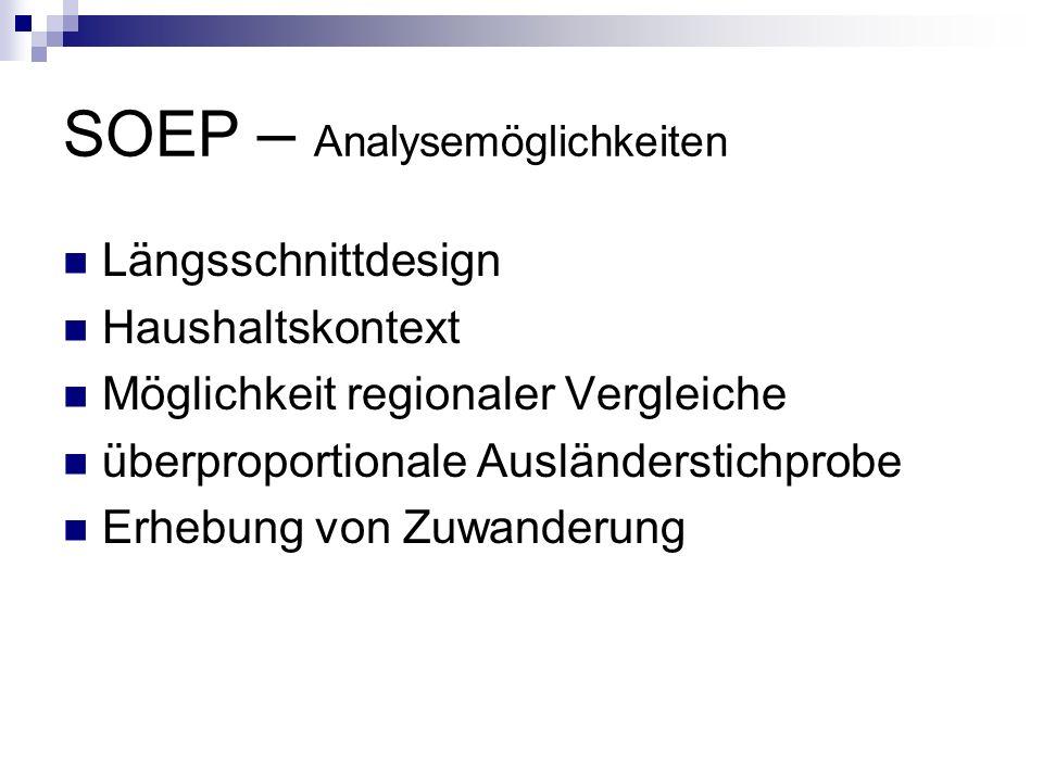 SOEP – Analysemöglichkeiten