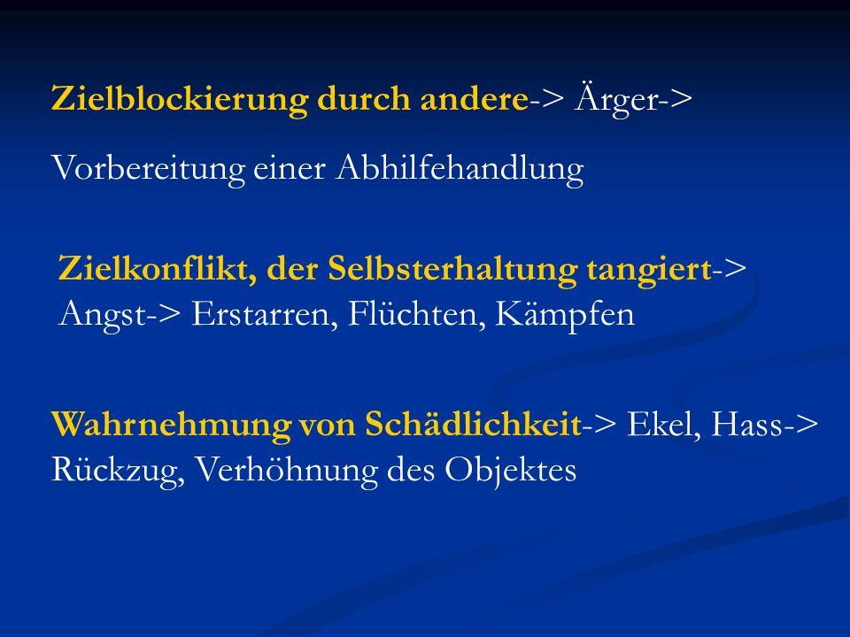Zielblockierung durch andere-> Ärger->