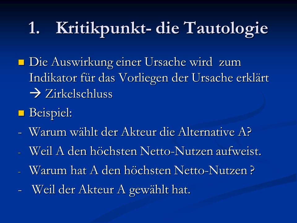 Kritikpunkt- die Tautologie