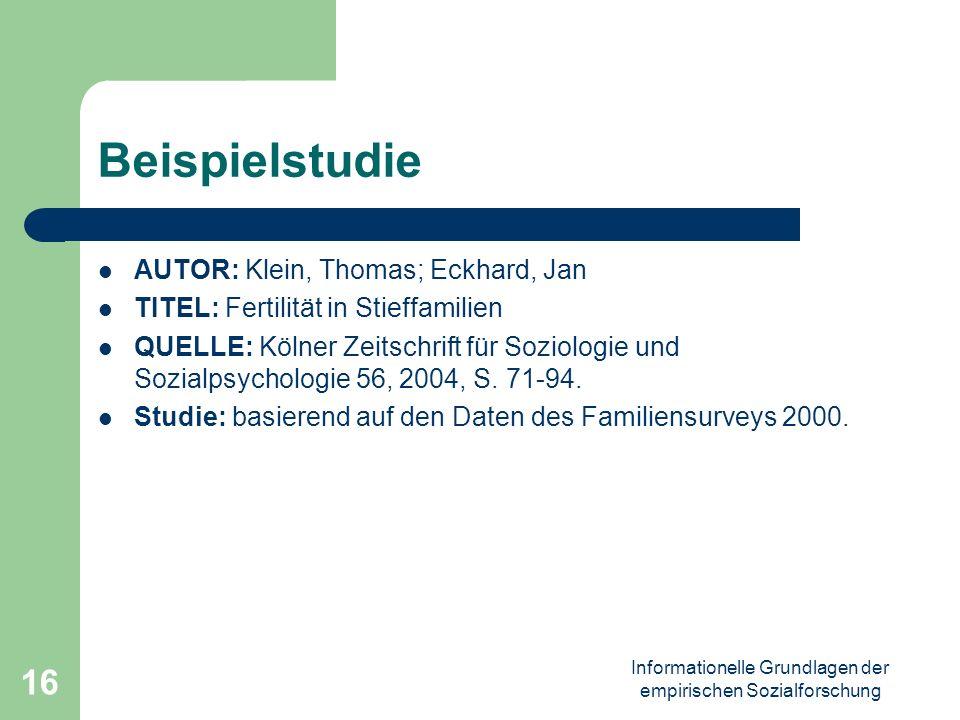 Informationelle Grundlagen der empirischen Sozialforschung