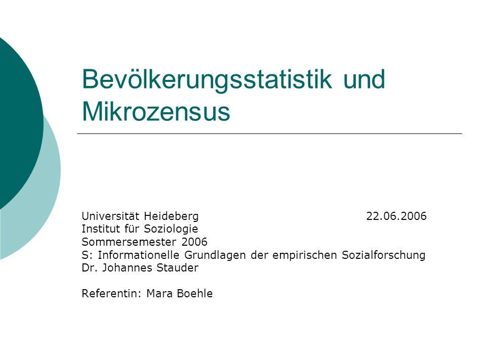Bevölkerungsstatistik und Mikrozensus
