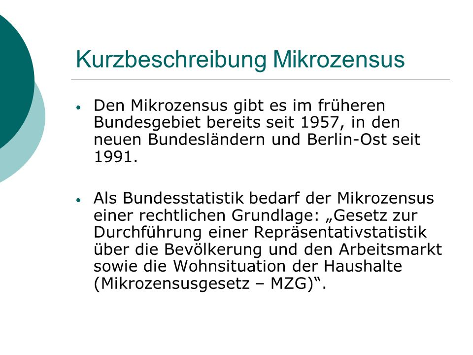 Kurzbeschreibung Mikrozensus