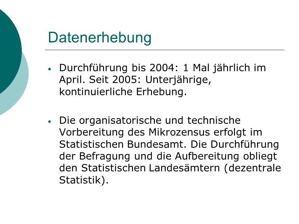 DatenerhebungDurchführung bis 2004: 1 Mal jährlich im April. Seit 2005: Unterjährige, kontinuierliche Erhebung.