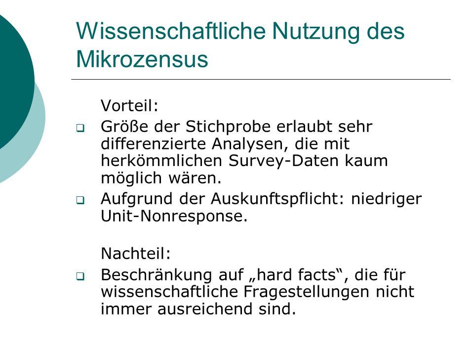 Wissenschaftliche Nutzung des Mikrozensus