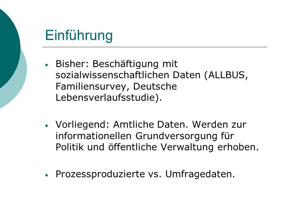 Einführung Bisher: Beschäftigung mit sozialwissenschaftlichen Daten (ALLBUS, Familiensurvey, Deutsche Lebensverlaufsstudie).