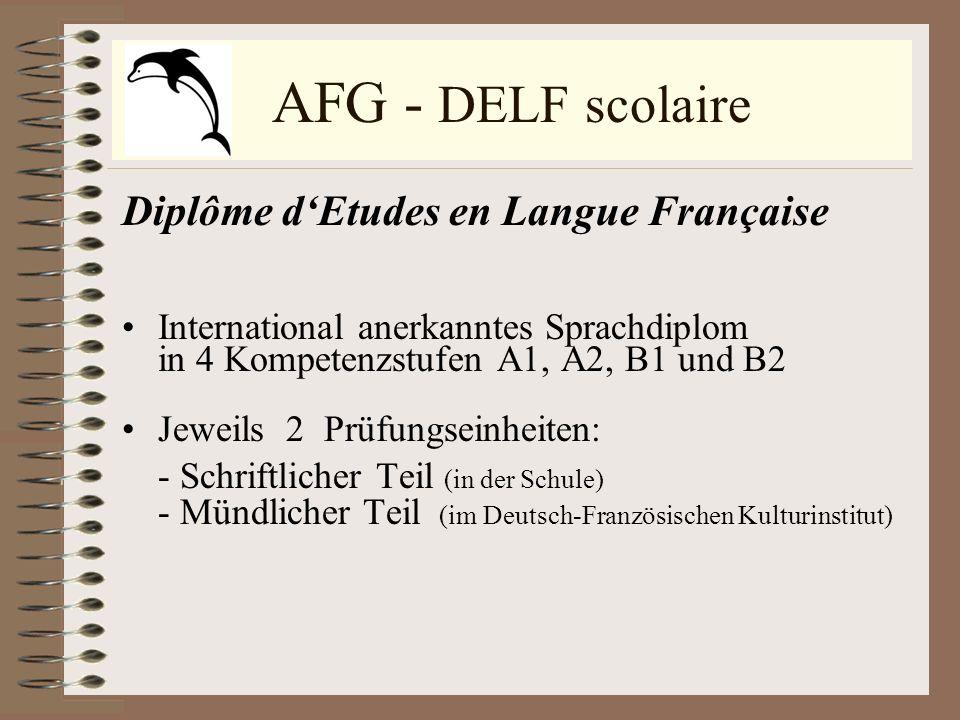 AFG - DELF scolaire Diplôme d'Etudes en Langue Française