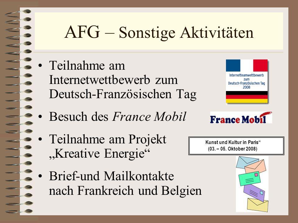 AFG – Sonstige Aktivitäten