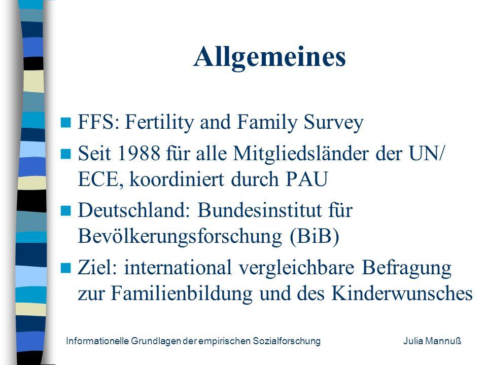 Allgemeines FFS: Fertility and Family Survey