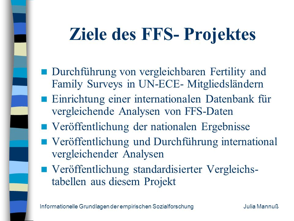 Ziele des FFS- Projektes