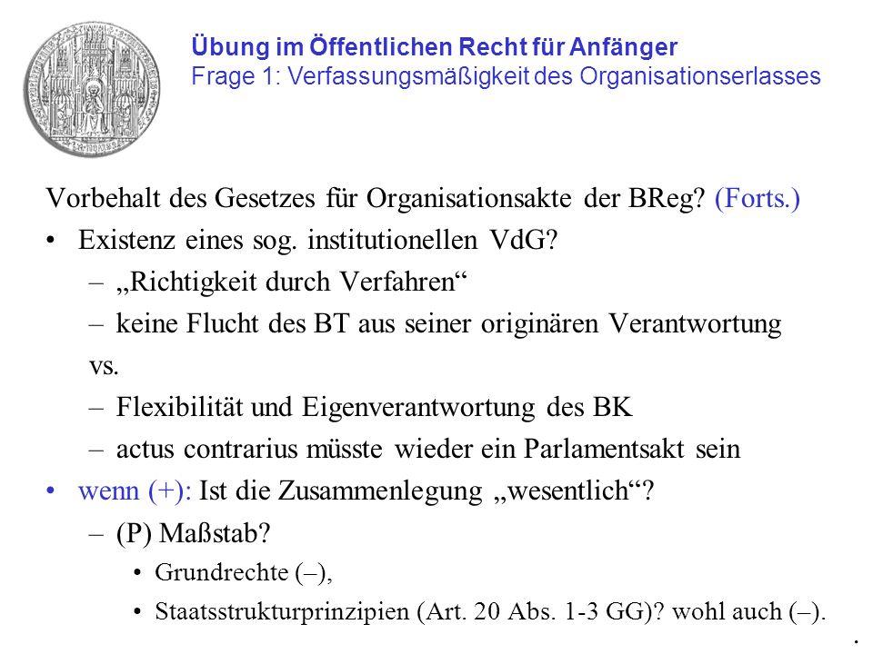 Vorbehalt des Gesetzes für Organisationsakte der BReg (Forts.)