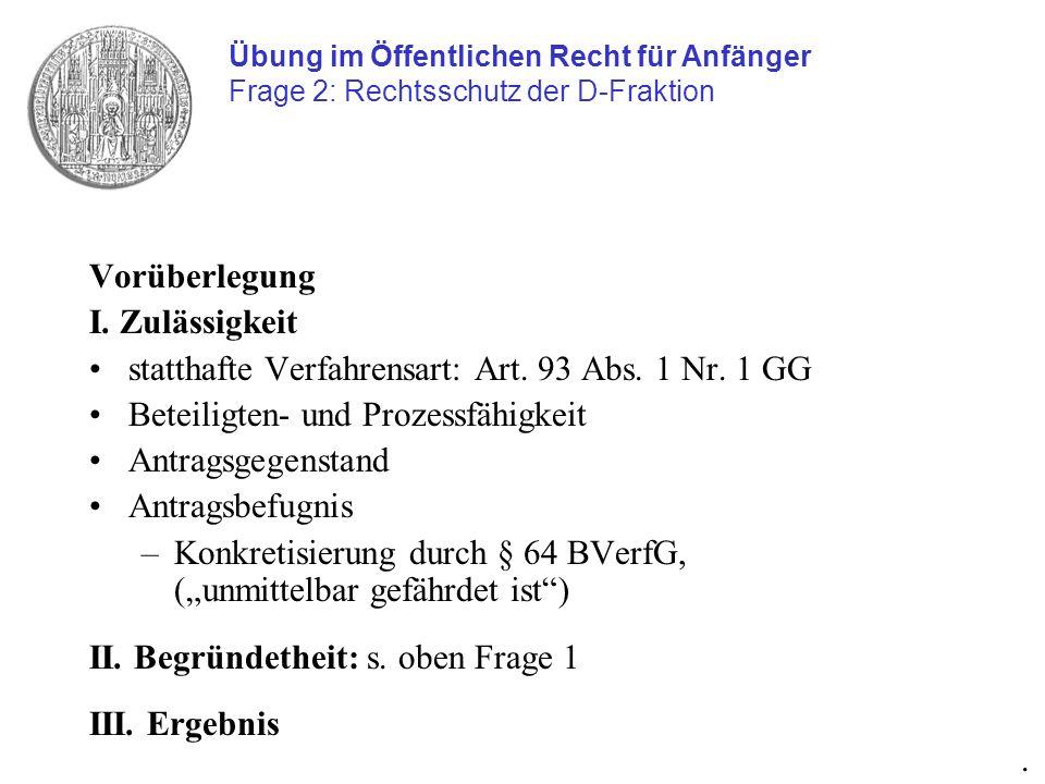 statthafte Verfahrensart: Art. 93 Abs. 1 Nr. 1 GG