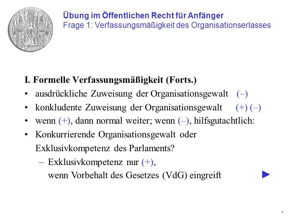I. Formelle Verfassungsmäßigkeit (Forts.)