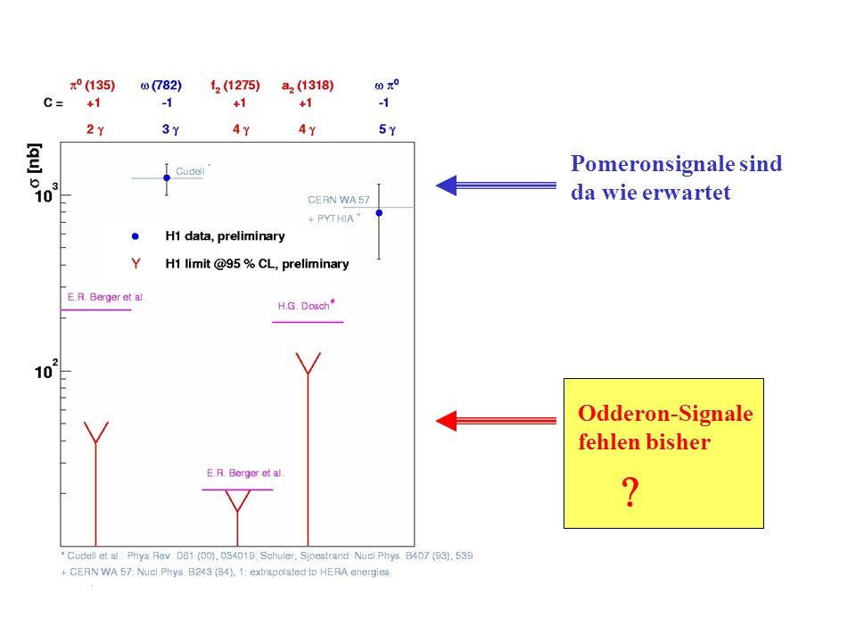 Pomeronsignale sind da wie erwartet Odderon-Signale fehlen bisher