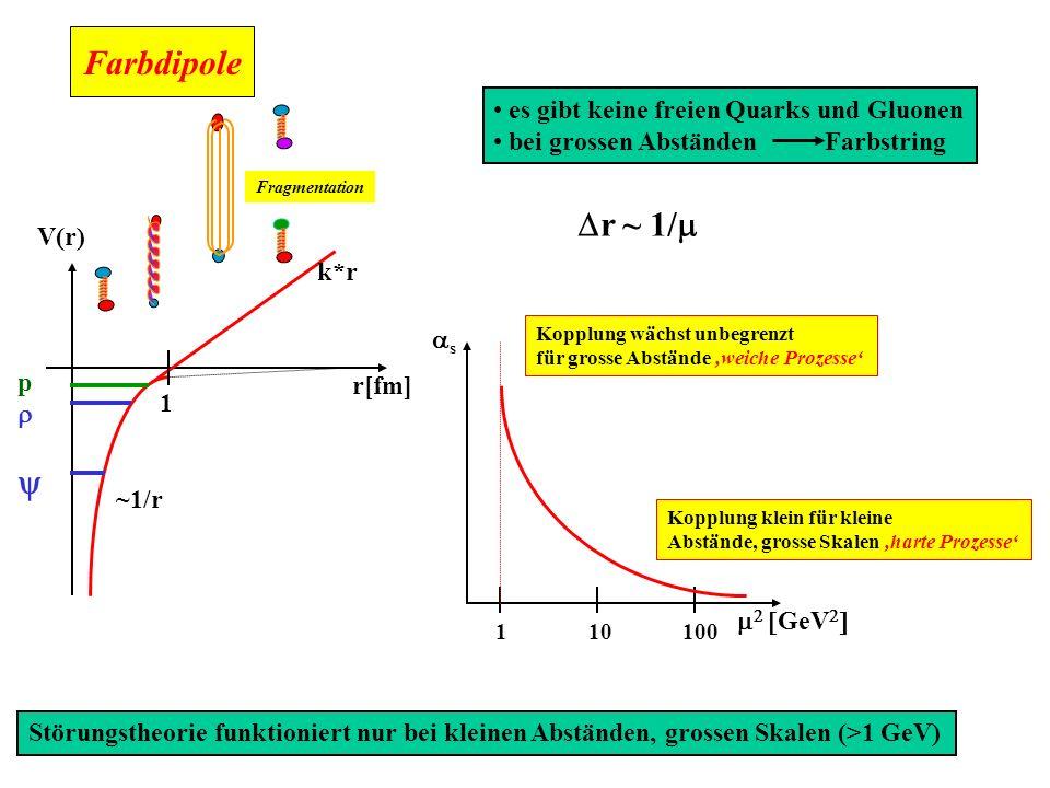 Farbdipole Dr ~ 1/m y es gibt keine freien Quarks und Gluonen