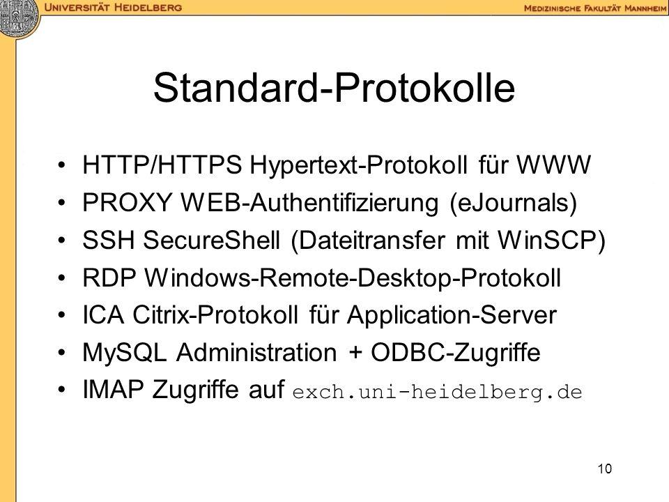 Standard-Protokolle HTTP/HTTPS Hypertext-Protokoll für WWW