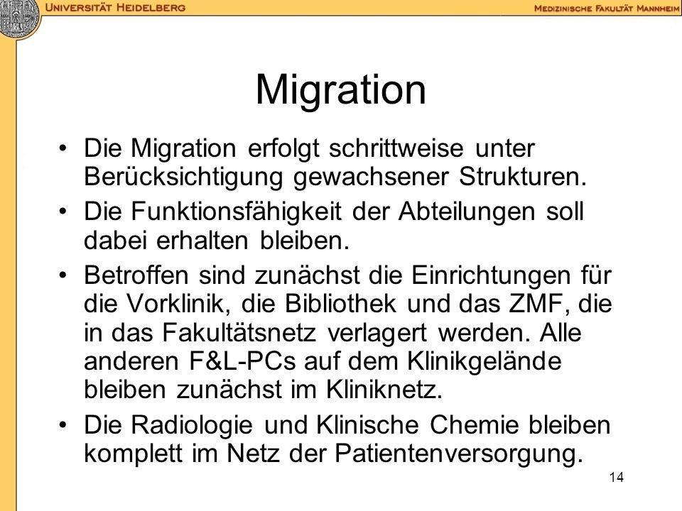Migration Die Migration erfolgt schrittweise unter Berücksichtigung gewachsener Strukturen.