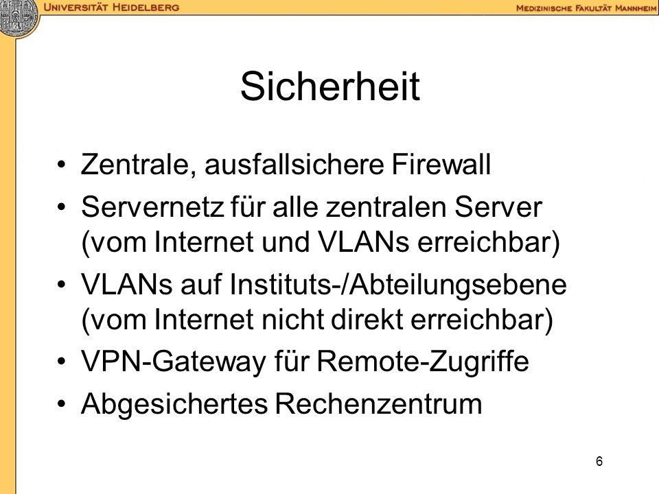 Sicherheit Zentrale, ausfallsichere Firewall