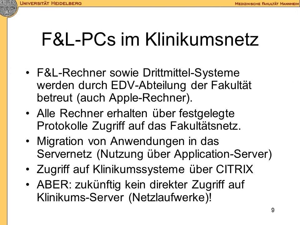 F&L-PCs im Klinikumsnetz