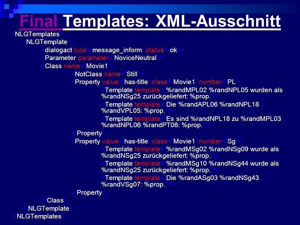 Final Templates: XML-Ausschnitt