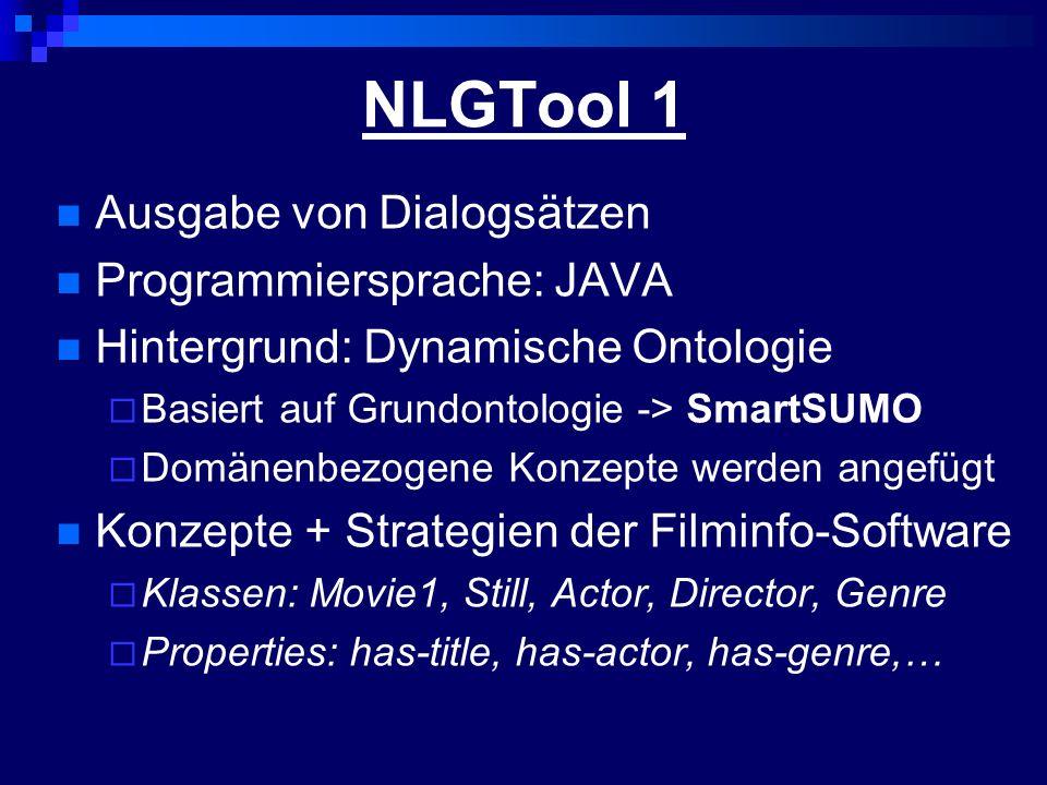 NLGTool 1 Ausgabe von Dialogsätzen Programmiersprache: JAVA