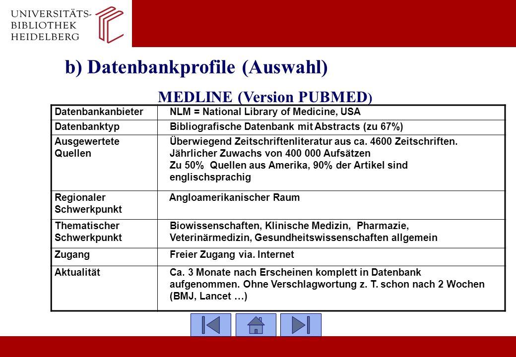 b) Datenbankprofile (Auswahl)