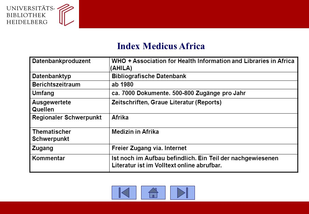 Index Medicus Africa Datenbankproduzent