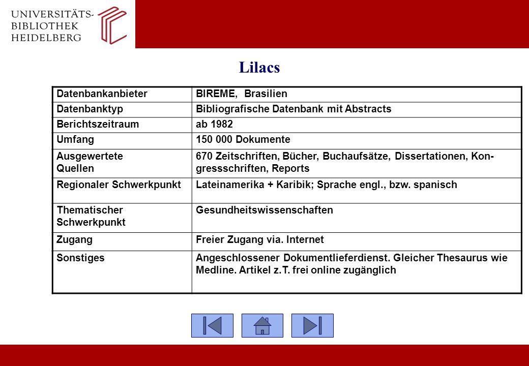 Lilacs Datenbankanbieter BIREME, Brasilien Datenbanktyp