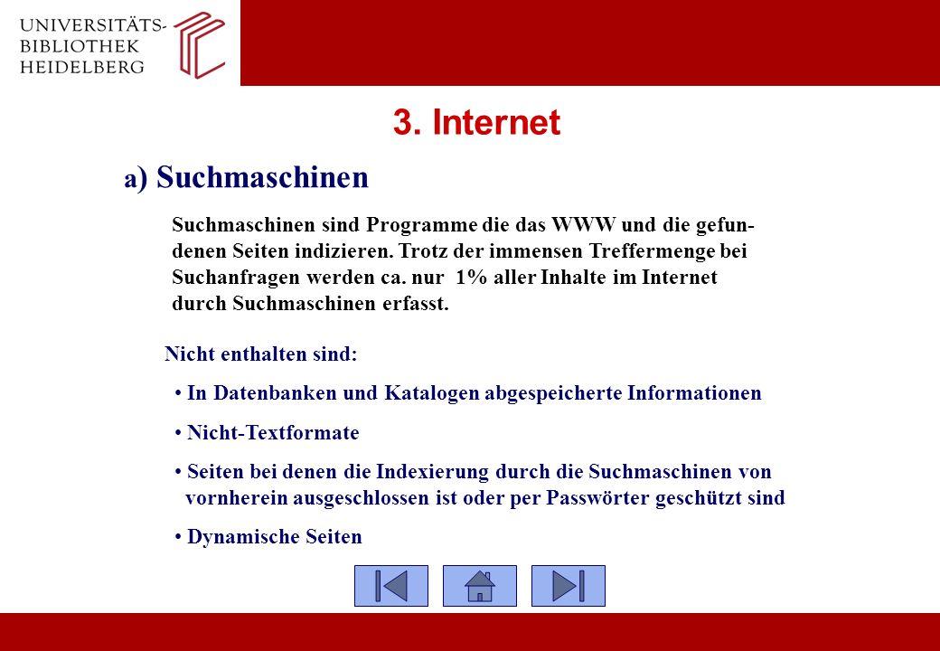 3. Internet a) Suchmaschinen