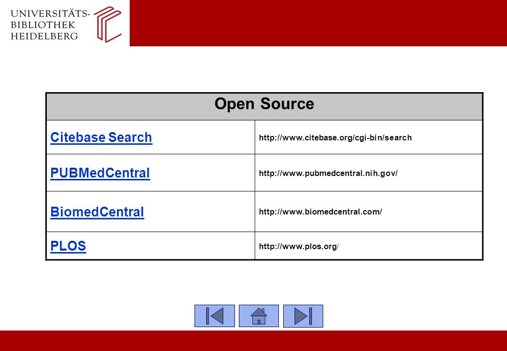 Open Source Citebase Search PUBMedCentral BiomedCentral PLOS