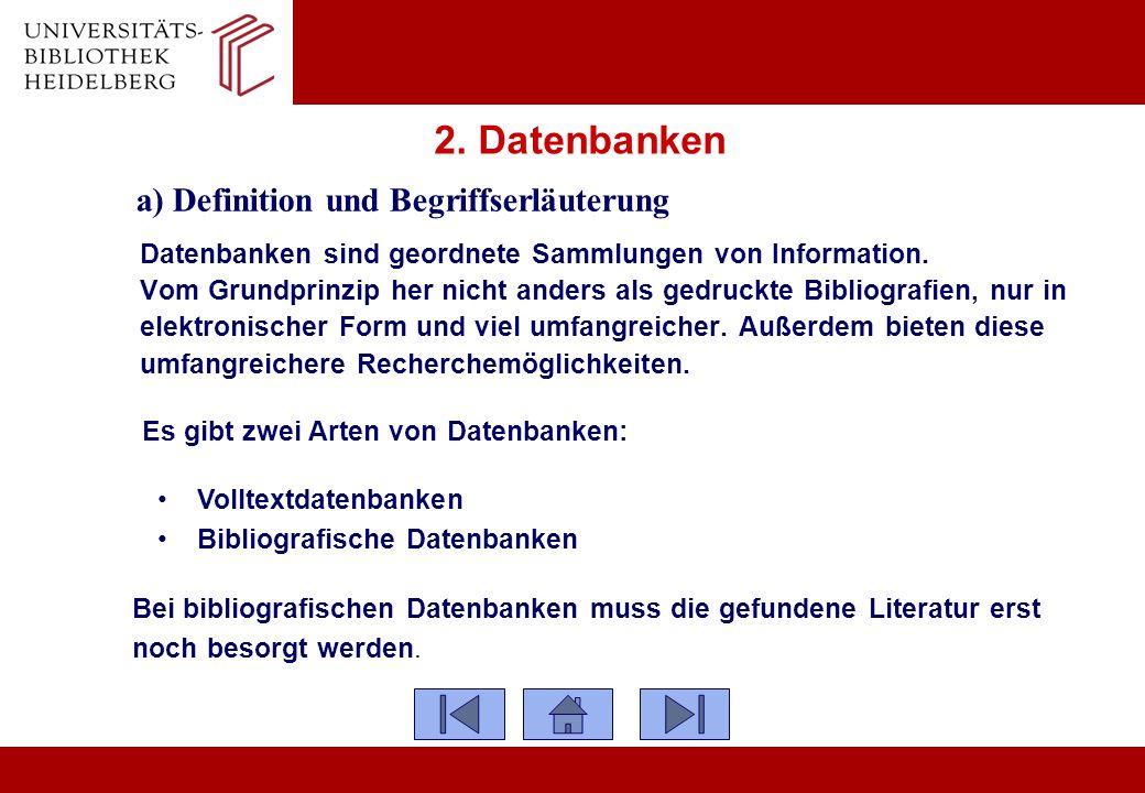 2. Datenbanken a) Definition und Begriffserläuterung