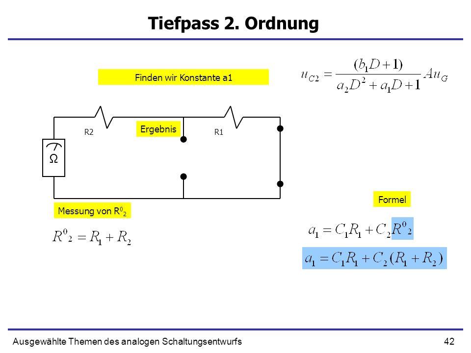 Tiefpass 2. Ordnung Ω Finden wir Konstante a1 Ergebnis Formel