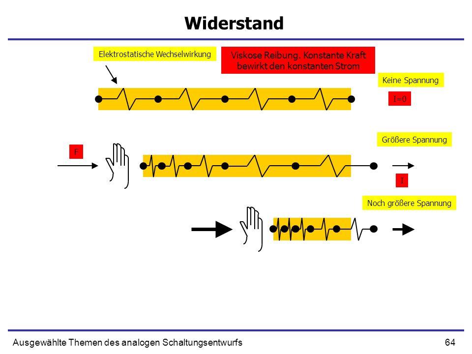 Widerstand Elektrostatische Wechselwirkung. Viskose Reibung. Konstante Kraft bewirkt den konstanten Strom.
