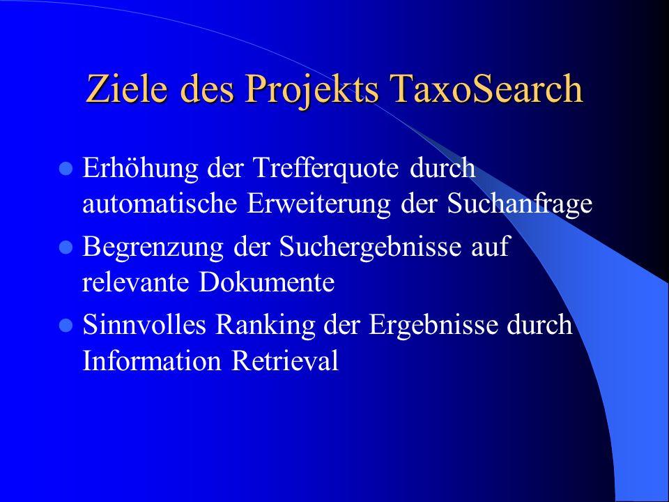 Ziele des Projekts TaxoSearch