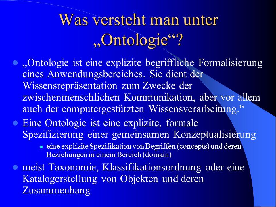 """Was versteht man unter """"Ontologie"""
