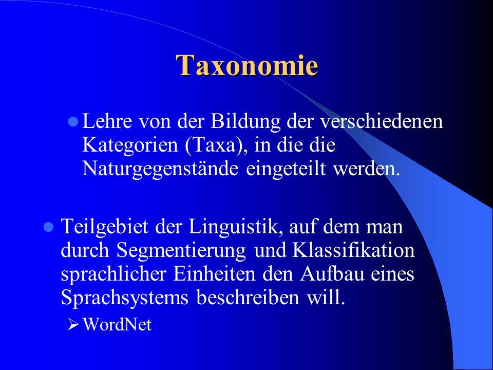 Taxonomie Lehre von der Bildung der verschiedenen Kategorien (Taxa), in die die Naturgegenstände eingeteilt werden.