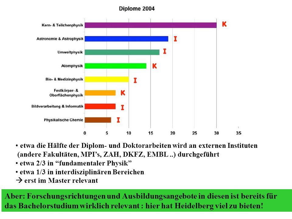 etwa die Hälfte der Diplom- und Doktorarbeiten wird an externen Instituten