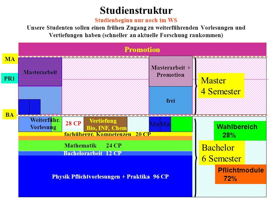 Studienstruktur Studienbeginn nur noch im WS Unsere Studenten sollen einen frühen Zugang zu weiterführenden Vorlesungen und Vertiefungen haben (schneller an aktuelle Forschung rankommen)